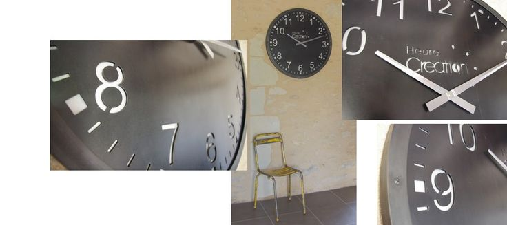 horloge en acier brut style industriel cadran d coup au laser. Black Bedroom Furniture Sets. Home Design Ideas