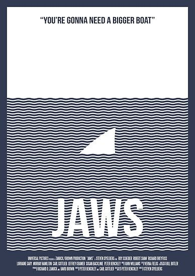 Alternative minimalist film poster for the 1975 film Jaws.  #minimal #film #movie #illustration #alternative #poster #graphicart #followforfollow #follow4follow