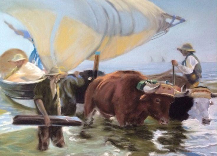 La vuelta de la pesca  Obra de Joaquin Sorolla      Reproducción de Rafael Torres