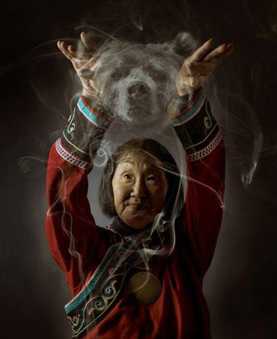 Spirit Bear ~ Nadia Duvan, last shaman of the Ulchi people of Siberia, communicating with a bear spirit. (I found the original image and link via flicker and modified the source)