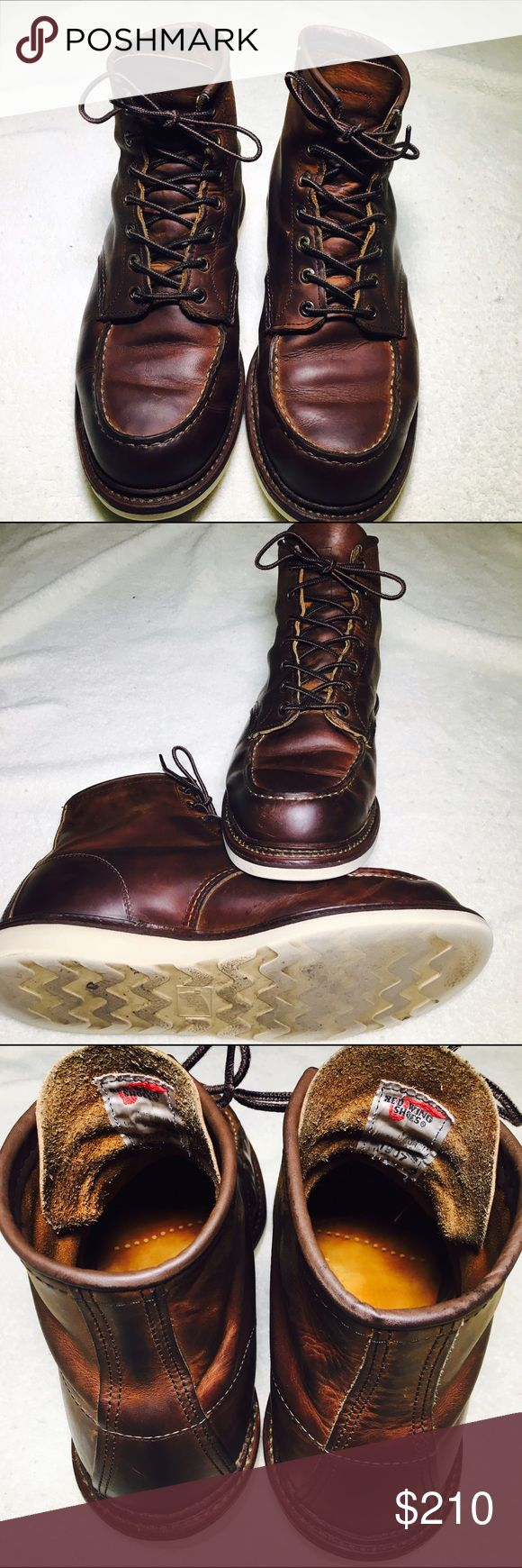 Red Wing 1907 Moc Toe STYLE NO. 1907 : CLASSIC MOC  Modeled after Red Wing's original work boot style, the 1907 is a 6-Inch Moc Toe featuring Copper Rough & Tough leather, white Traction Tred rubber outsole, Norwegian-like welt, triple stitched quality and leather laces. Red Wing Shoes Shoes Boots