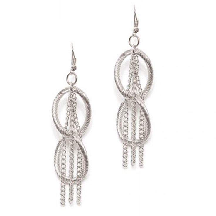 Stay ahead of the jewelry trends with these modern and statement-making earrings. The iridescent chain link plays off silver-tone fringe for true fashion-forward appeal.