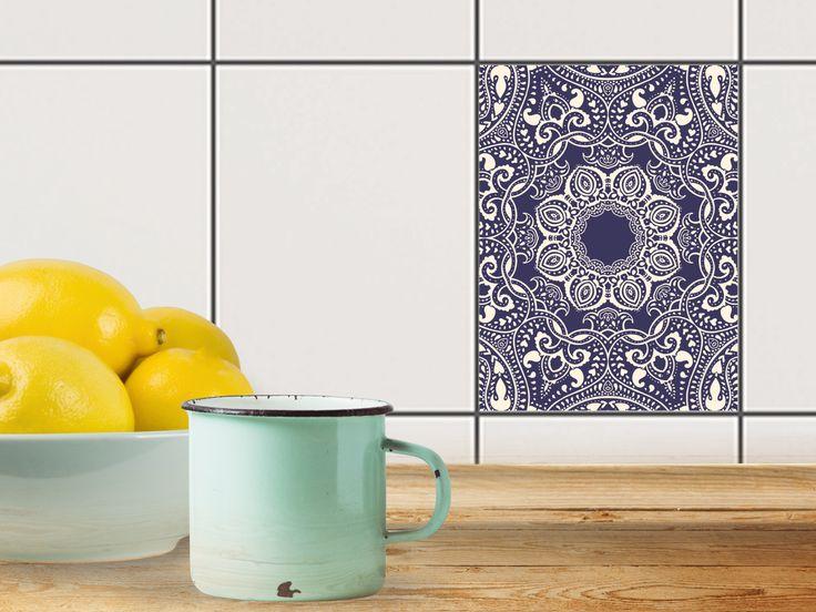 Mit Fliesenaufkleber Hoch Für Küche Und Bad Mit Dem Design Blue Mandala.  Die Folie Ist Einfach Aufzubringen Und Rückstandsfrei Wieder Abzulösen.
