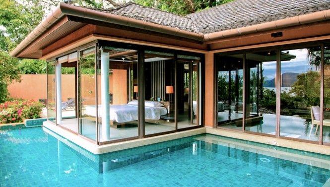 Infinity Pool Moat: Interior Design, Swimming Pools, Idea, Pool Moat, Dream House, Bedrooms, Bedroom Designs