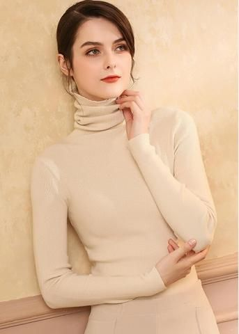 Turtleneck Sweater Female Pullover Autumn and Winter Basic Thickening Slim Women s  Cashmere Wool Blend e53305a2de