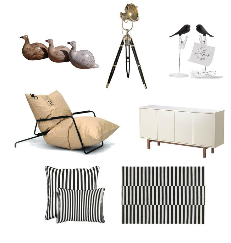 drewniane ptaki,francuskie dekoracje,lampa na trójnodze,trójnóg,nowoczesna lampa latarnia,lampa reflektor,czarne ptaszki na klamerce,przypinka ptaszki,przypinka z klamerką,ozdobna klamerka,biała komoda,nowoczesna pufa,nowoczesny dmuchany fotel,dizajnerskie siedziska,bężowe siedziska,awangardowe meble do salonu,sofa jak dmuchana torebka z papieru,workowy fotel,poduszki w paski,czarno-białe paski,dywan w paski,dywan z IKEI,dekoracje IKEA