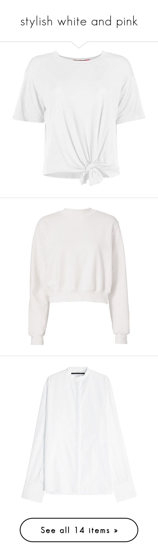 """""""stylish white and pink"""" by m-gorodetskaya ❤ liked on Polyvore featuring tops, t-shirts, shirts, blusas, off-shoulder crop tops, off the shoulder t shirt, off shoulder t shirt, jersey shirt, white polka dot shirt and hoodies"""