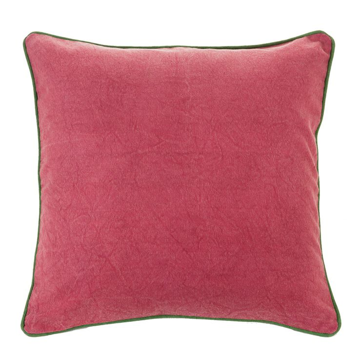 Verandah Magenta/Moss Cushion – Linen & Moore