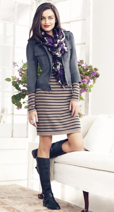 Another Ann Taylor Loft outfit - sweater dress, riding bootss, cropped twill jacket, scarf. LOVE the scarf.  - MC