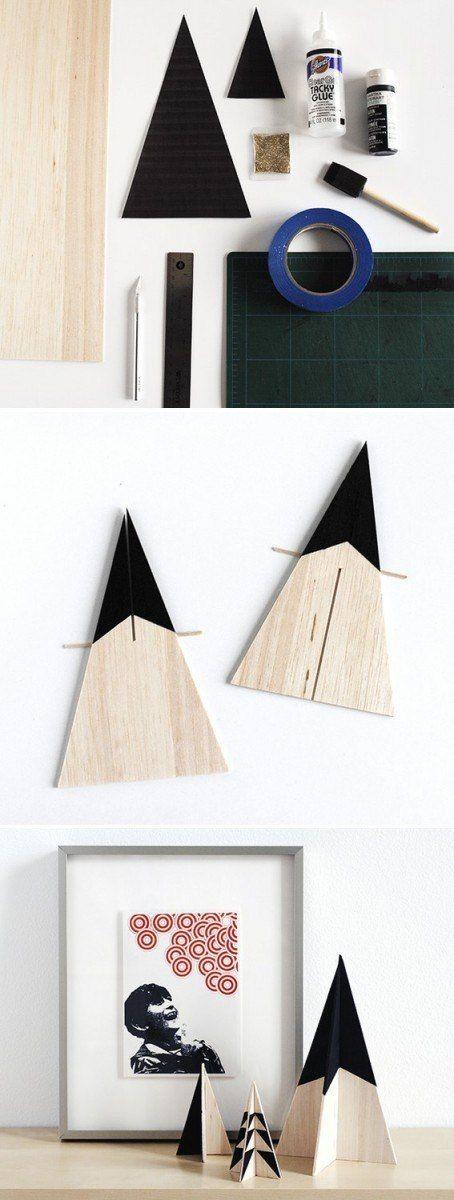 Des petits sapins en bois géométriques  http://www.homelisty.com/diy-noel-49-bricolages-de-noel-a-faire-soi-meme-faciles/                                                                                                                                                                                 Plus