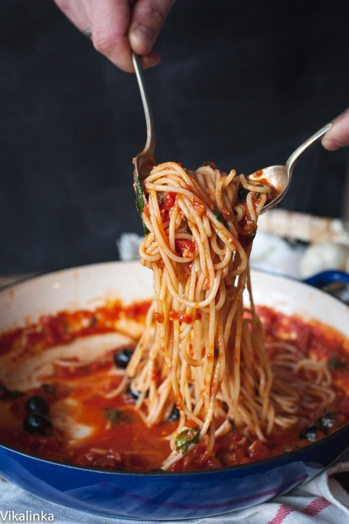 Spaghetti Puttanesca-one of the easiest pasta sauces you should know!