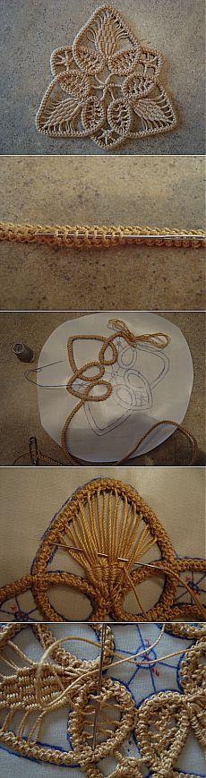 Кружевной мотив. Вязание крючком, почти игольное  | Умелые ручки