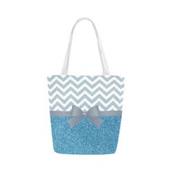 Blue Glitter, Blue Chevron, Blue Bow Canvas Tote Bag (Model 1657)