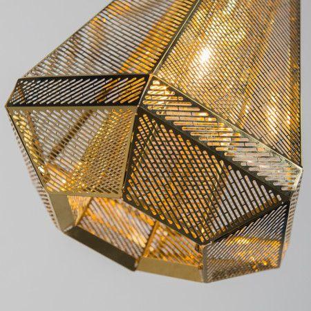 Lámpara colgante VINCE dorada - Lámpara colgante hecha con láminas de acero inoxidable muy finas. Las finas aberturas de las láminas proporcionan un efecto muy agradable.