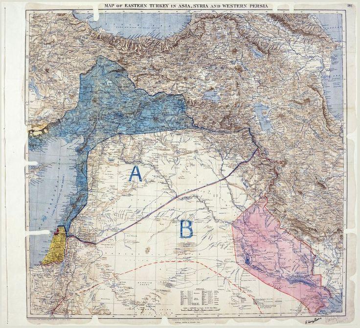 Intégrer le récit historique des perdants arabes â celui des vainqueurss européens - La carte de l'accord  secret Sykes-Picot du16mai 1916, conclu entre laFrance etleRoyaume-Uni, avec le consentement delaRussie, établissant leurs zones de contrôle auMoyen-Orient. - 14 décembre 15