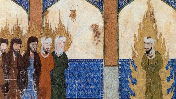 Manuscrit persan du Moyen-Age représentant le prophète Mahomet conduisant Jésus, Moïse et Abraham à la prière. | WIKIMEDIA COMMONS