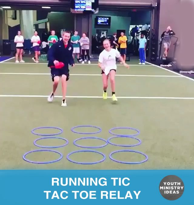 Relay Race Tic Tac Toe. You only have 3 items per team (there is never a cats game), so after the 1st three people go, the next people go and move one of their items to a new place. Lots of creative ways to switch this up (create obstacles, 3 legged races, crab walk over …