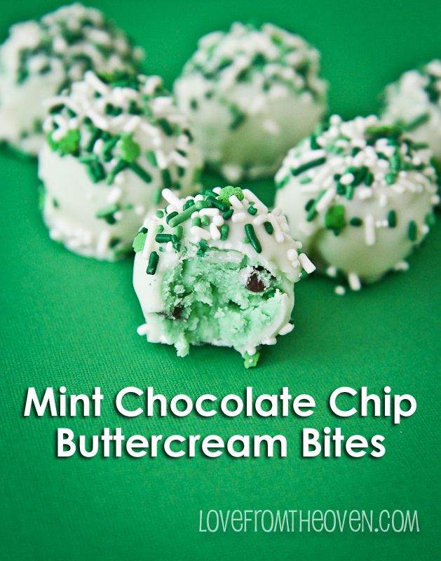 Mint Chocolate Chip Buttercream Bites by Love From The Oven