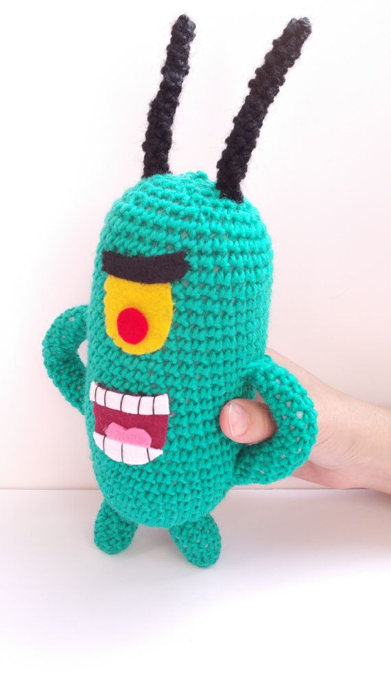 PLANKTON KAWAII PLUSH 11''  geek amigurumi geek mashup green monster freak kawaii inspired spongebob squarepants