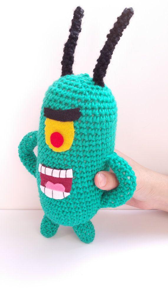 PLANKTON KAWAII AMIGURUMI 28cm inspirado bob esponja amigurumi geek  divertido regalo