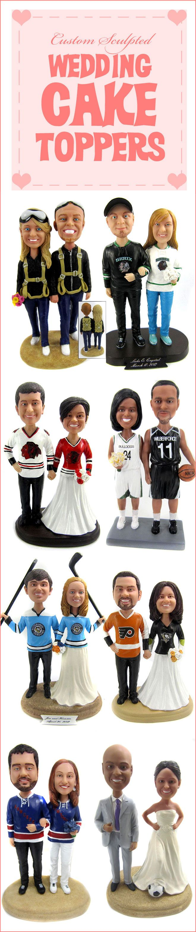 Custom sports cake toppers with your faces, jersey color, number and names!