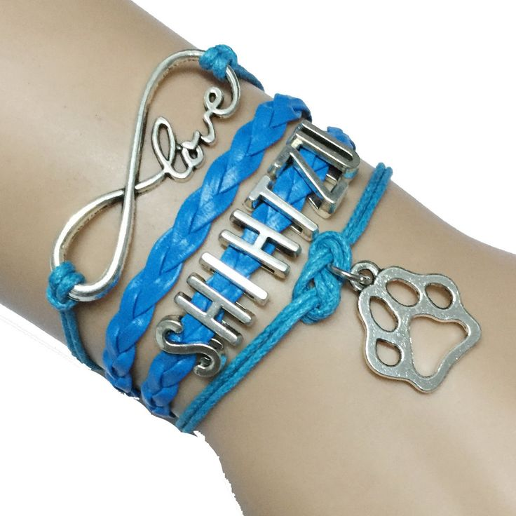 Drop Shipping Handmade Leather Blue Infinity Love Shih Tzu Dog Breed Puppy Paw Charm Bracelet