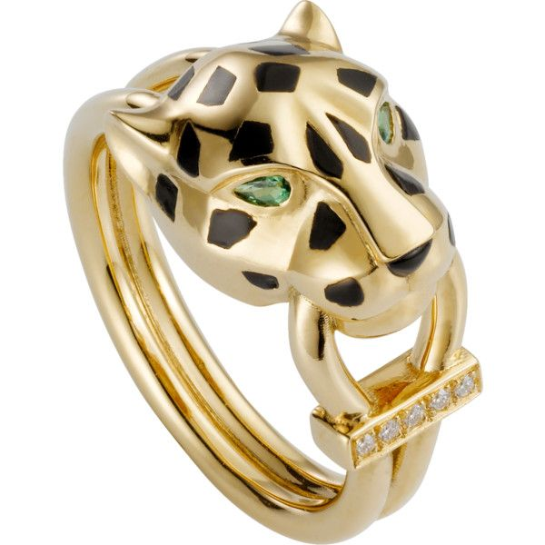 Panthère de Cartier ring Yellow gold, lacquer, diamonds, tsavorite... ($7,550) ❤ liked on Polyvore featuring jewelry, rings, gold diamond rings, 18k yellow gold ring, diamond rings, 18k ring and 18k diamond ring