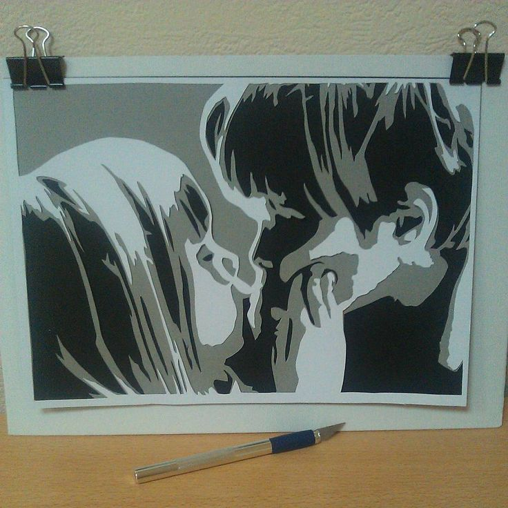 «Детский поцелуй  Children's kiss #papercut #art #papercutart #boy #girl #folowme»