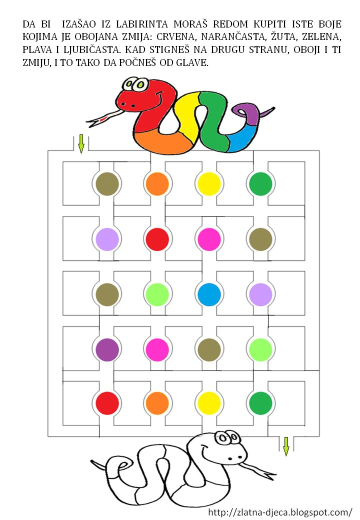 Kleurendoolhof. Zoek de juiste weg en kijk naar de kleuren van de slang. In die volgorde mag je door de rondjes gaan, heb je alle kleuren gehad, begin dan weer bij de eerste kleur. Net zo lang tot je uit het doolhof bent.