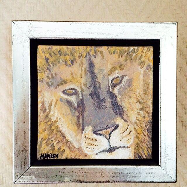 Leon. Acryl painting.  Løve akryl maleri.  Manley.