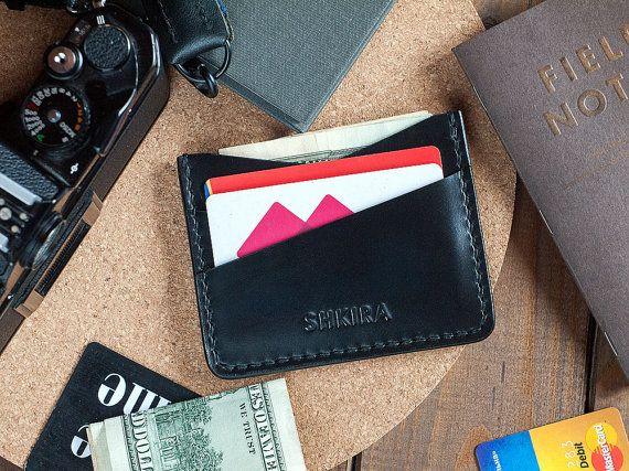 Zwarte Horween Chromexcel lederen Card houder portemonnee