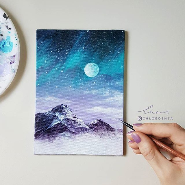 It's been a while but I finally got around to finishing another piece. I'm really taking my time with painting because I'm still learning new techniques. I wish I had more time in a day to do this, creating art really is so much fun. This Fantasy Mountain scene was inspired by @smwallday amazing photography ⭐ -Acrylic paint on A5 Canvas Board