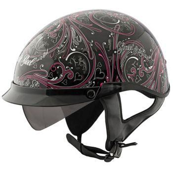 STREET & STEEL - Women's Heart Throb Motorcycle Half Helmet - Half - Biker - Helmets - Women's - Cycle Gear