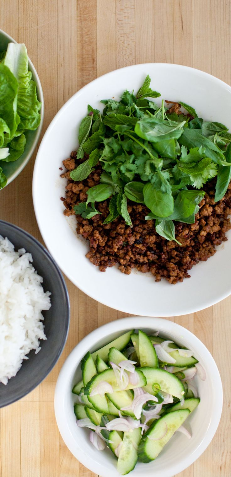 The crispy bits are the key to this Thai pork, one of our favorite weeknight dinners. The cucumber salad keeps things cool and fresh.