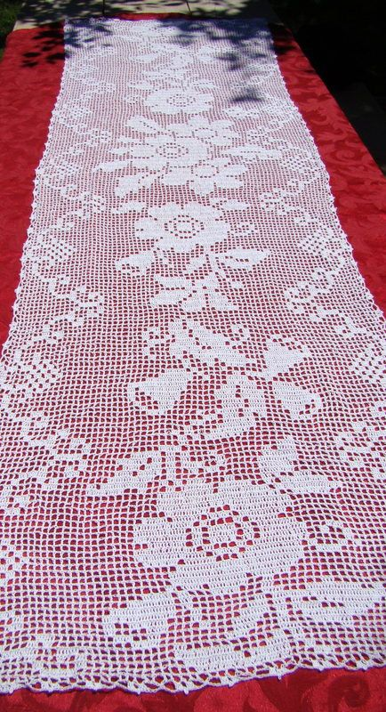 Primroses and Bluebells white filet crocheted by BearMtnCrochet
