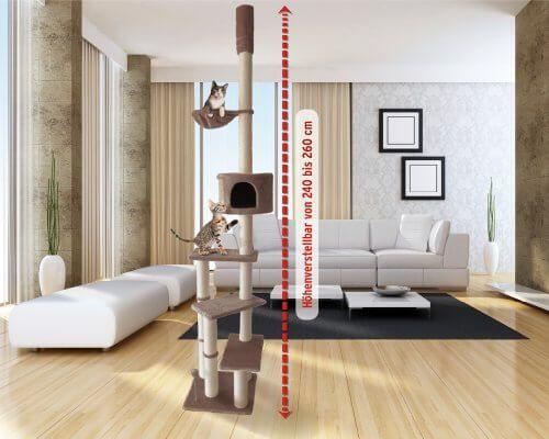 Kratzbaum Deckenhoch mit 3 Ebenen 240 – 260cm braun - http://www.kratzbaum-bestellen.de/produkt/kratzbaum-deckenhoch-mit-3-ebenen-240-260cm-braun/