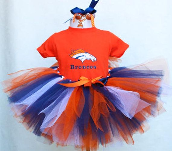 Personalized Denver Bronco Tutu set with Orange tshirt and matching hair bow.  Toddler sizes and larger youth available for your Bronco fan