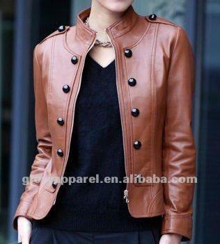 Brand cheap leather jackets&orange real leather jacekts for women $15~$20