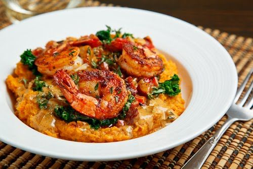 Blackened Shrimp on Kale and Mashed Sweet Potatoes with Andouille Cream. Could someone make this for me???