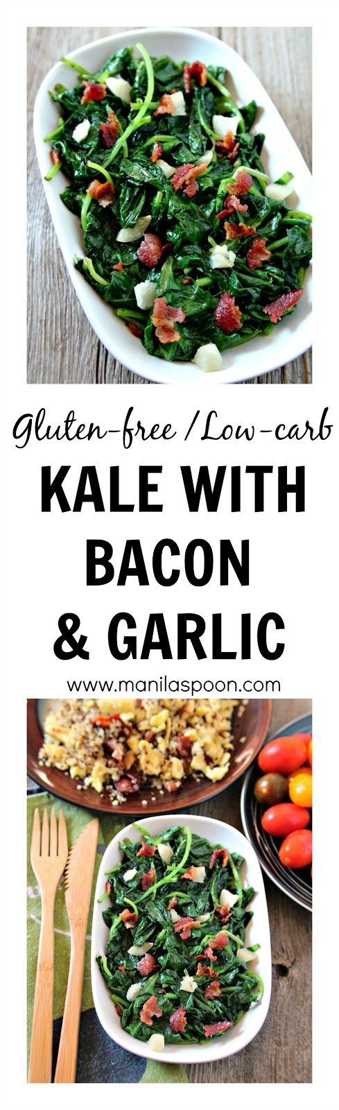 Who says Kale cannot taste good? Add some bacon and garlic and you're all set - Sauteed Kale with Bacon and Garlic. Naturally, gluten-free and low-carb!