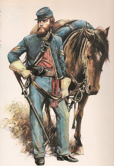 p.USA PUSA soldado yanqui con sombrero copa torcida hacia adelante como soldados gauchos argentinos.   N. C.O.: U.S. CAVALRY.