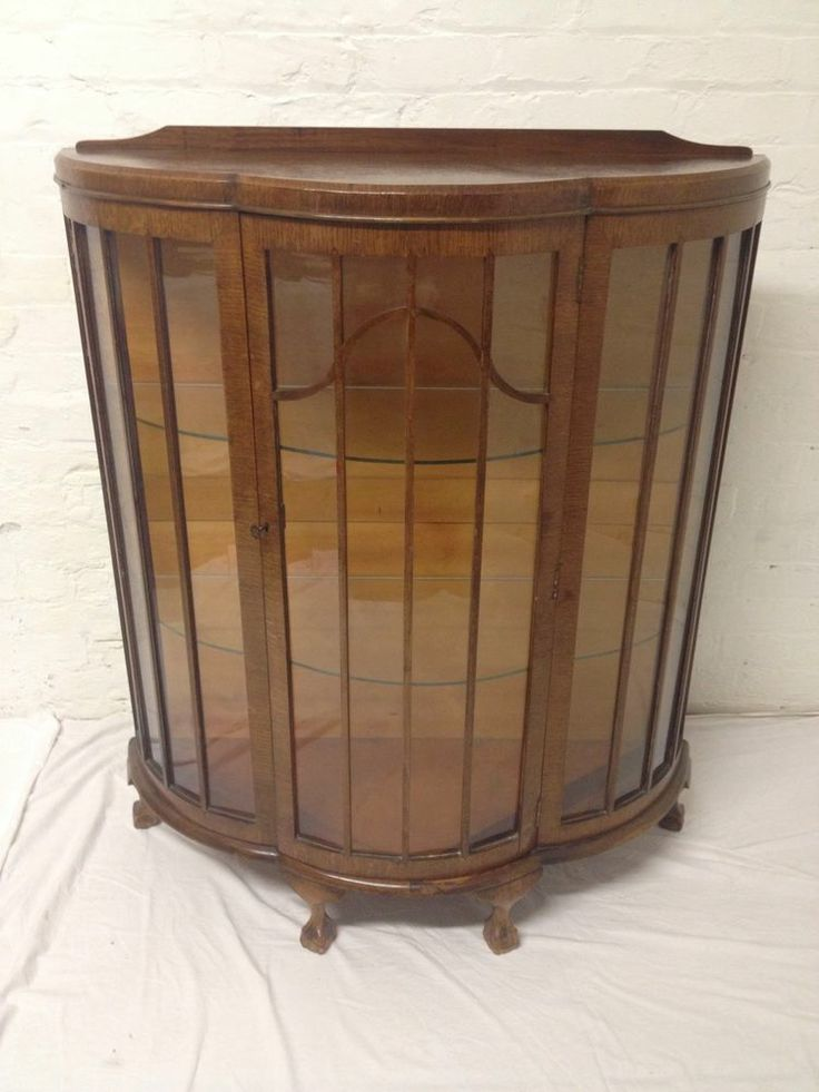 Original Art Deco 1940's Display Cabinet Bow Fronted