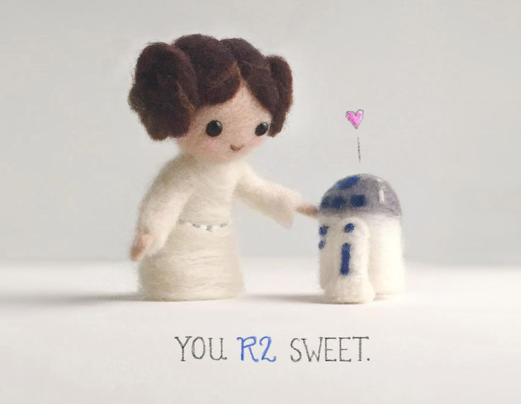 needle-felted Princess Leia and R2D2