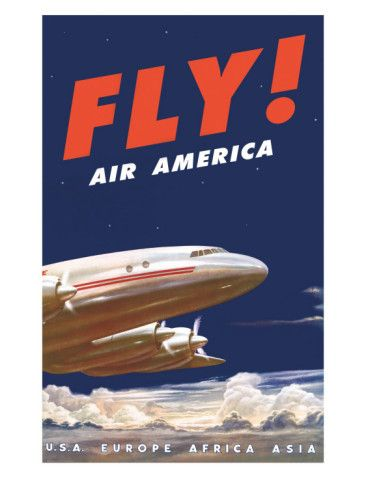 50's Fly Air America Constellation Poster Art Print