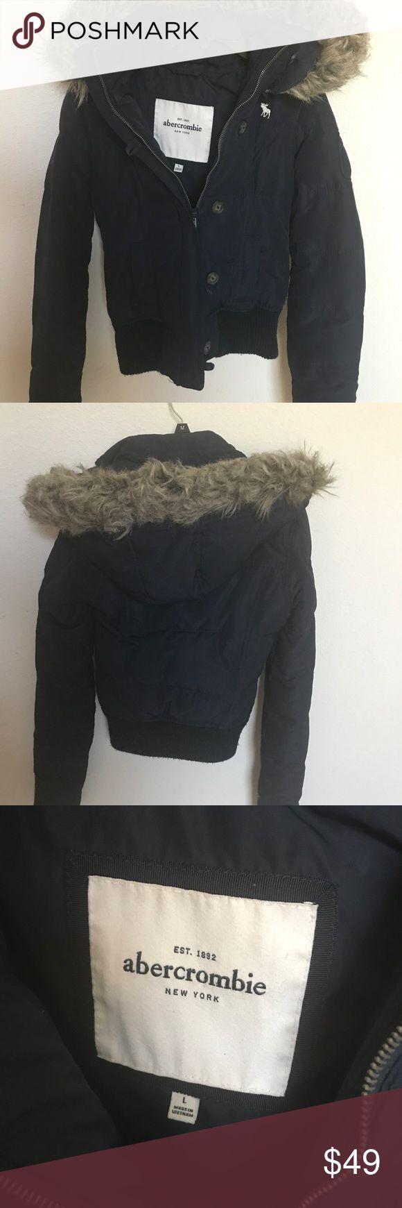 Abercrombie Girls' Fur Winter Jacket Abercrombie Girls Fur Hood Winter Jacket Navy Blue-used-minor signs of wear Abercombie Kids Jackets & Coats Puffers