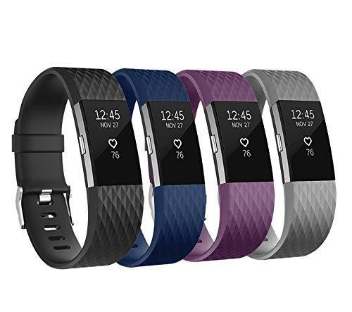 For Fitbit Charge 2 Bands Adjustable Replacement Bands with Metal Clasp for Fitbit Charge 2 Wristbands Special Edition Black Grey Navy Plum Small