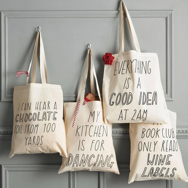 canvas bags, I like the idea of a saying