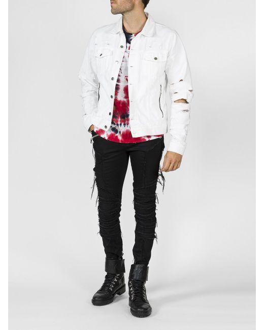 88d806fd Balmain - White Vintage Destroy Denim Jacket for Men - Lyst #MensT-shirts