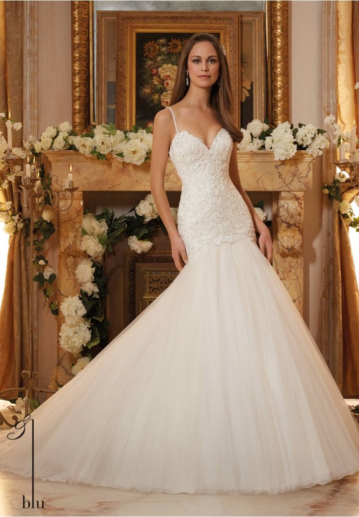 Amazing Wedding Gown Delicately Beaded Embroidery on Tulle