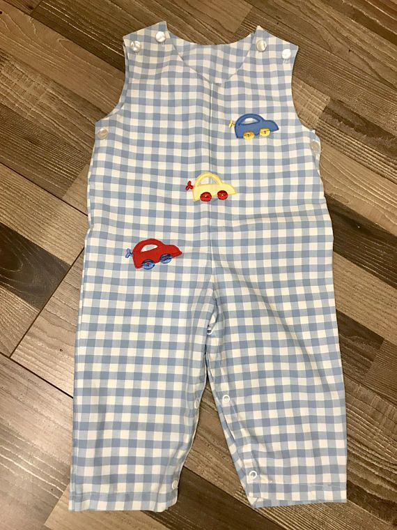 baby boy gifts baby clothes vintage baby clothes Cars theme vintage baby cars baby baby boy outfit blue plaid onesie Cars baby gift
